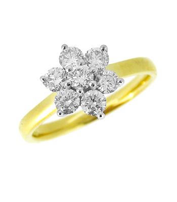 18k Yellow & White Gold 7 Stone Brilliant Cut Diamond Cluster Ring