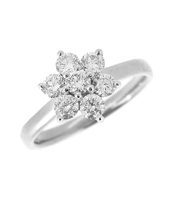 18k White Gold 7 Stone Brilliant Cut Diamond Cluster Ring