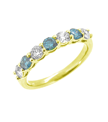 18k White Gold 7 Stone Coloured Blue Diamond Eternity Ring