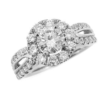 18k White Gold Brilliant Cut Diamond Cluster Ring