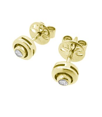 18k White Gold Brilliant Cut Diamond Solitaire Stud Earrings