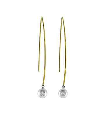 9k Yellow & White Gold Brilliant Cut Diamond Hoop Earrings