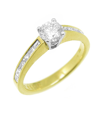 Diamond Solitaire Ring Set In 18k Yellow & White Gold