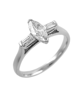 18k White Gold Marquise Diamond Solitaire Ring, Baguette Diamond Shoulders