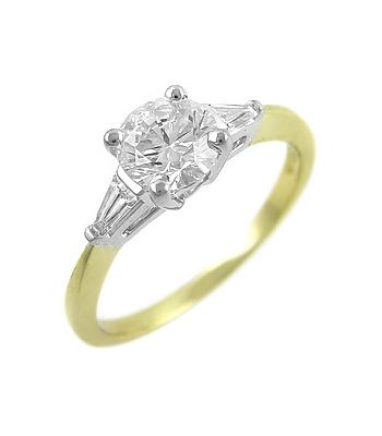 18k Yellow & White Gold Brilliant Cut Diamond Solitaire Ring, Diamond Shoulders