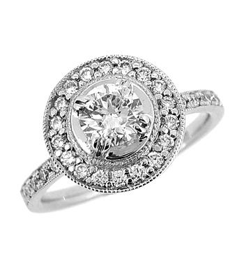 18k White Gold Brilliant Cut Diamond Round Cluster Ring