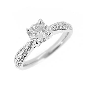 18k White Gold Brilliant Cut Diamond Solitaire Ring, Diamond Shoulders