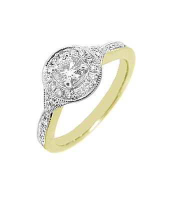 18k White Gold Halo Ring With Diamond Centre And Shoulders