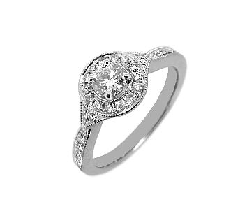 18k White Gold Brilliant Cut Diamond Cluster Ring, Diamond Shoulders