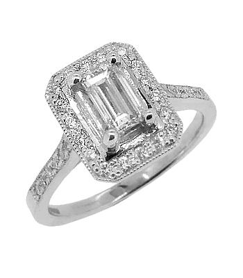 18k White Gold Emerald Cut & Brilliant Cut Diamond Cluster Ring