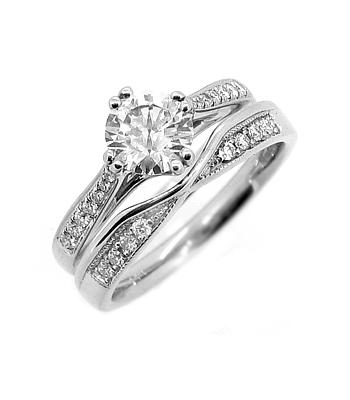18k White Gold Brilliant Cut Diamond Wishbone Wedding Ring