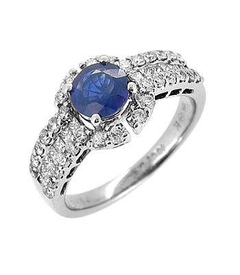 18k White Gold Round Sapphire & Brilliant Cut Diamond Cluster Ring