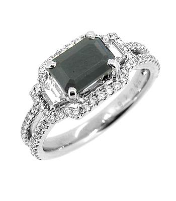 18k White Gold Octagonal Dark Sapphire & Brilliant Cut Diamond Cluster Ring