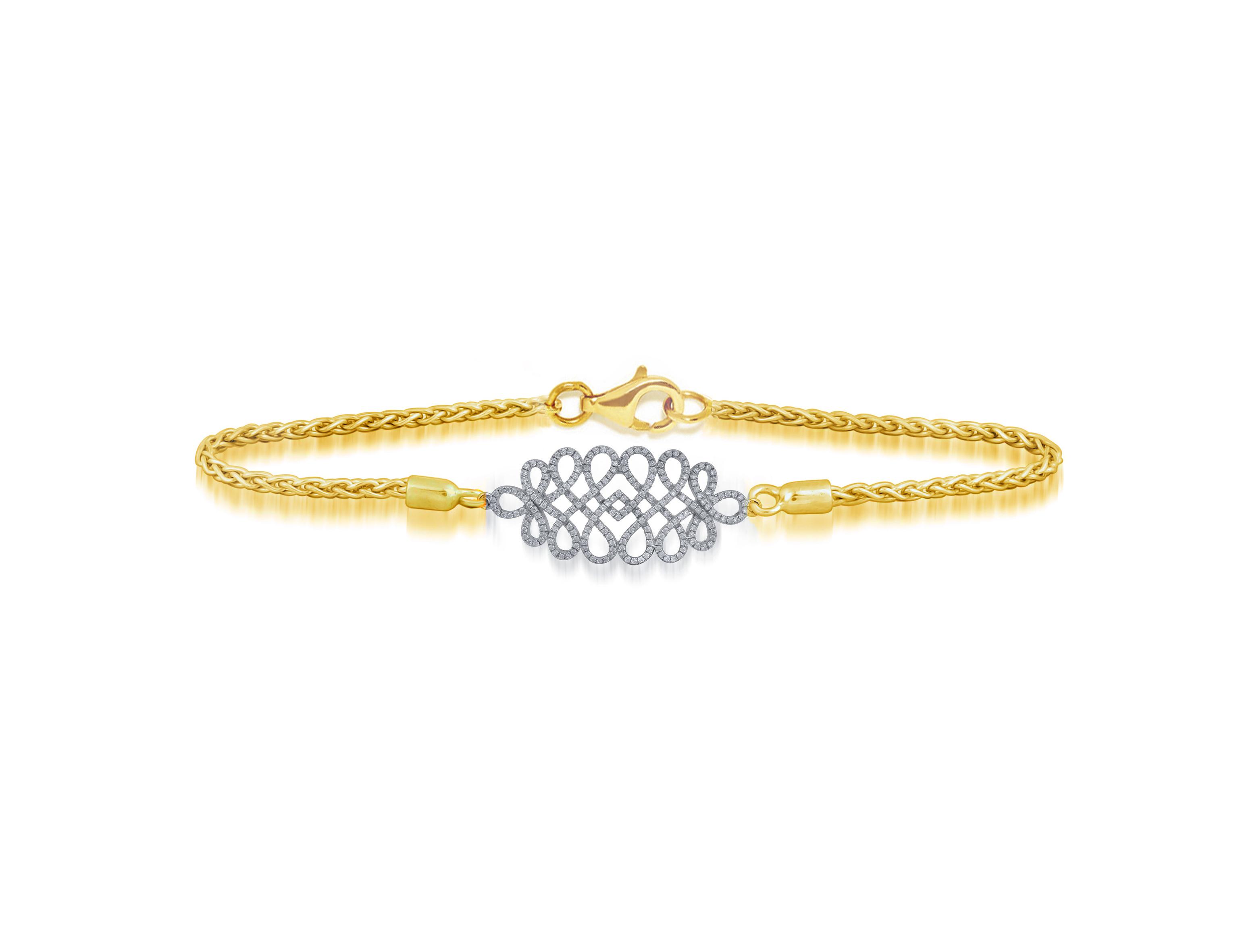 9k Yellow And White Gold Brilliant Cut Diamond & Chain Bracelet