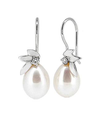 18k White Gold 9.5-13mm Pearl & Brilliant Cut Diamond Hoop Earrings