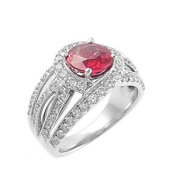 18k White Gold Round Ruby & Brilliant Cut Diamond Cluster Ring