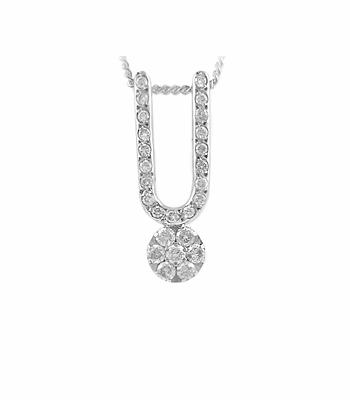 18k White Gold Brilliant Cut Diamond U Pendant On Chain