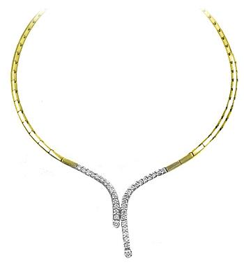 18k Yellow & White Gold 20 Stone Brilliant Cut Diamond Necklace
