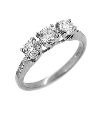 18k White Gold 3 Stone Ring, 0.35cts Diamond Shoulders