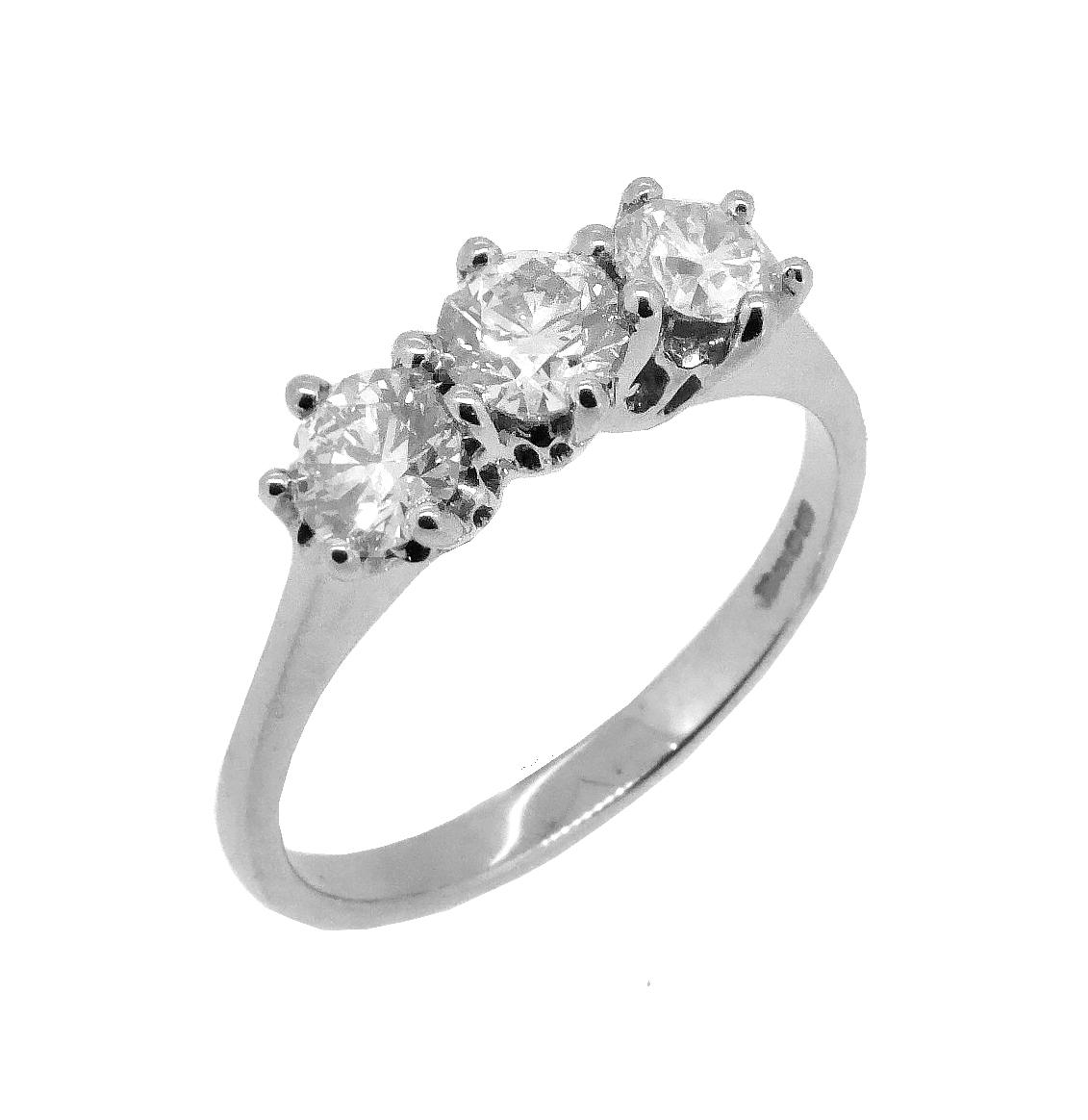 18k White Gold 3 Stone Brilliant Cut Diamond Ring