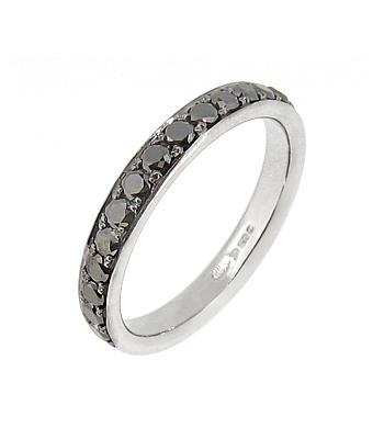 18k White Gold Black Diamond Eternity Ring