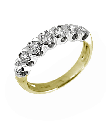 18k White Gold 7 Stone Brilliant Cut Diamond Eternity Ring