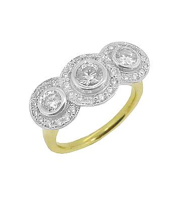 18k Yellow & White Gold Brilliant Cut Diamond Treble Cluster Ring