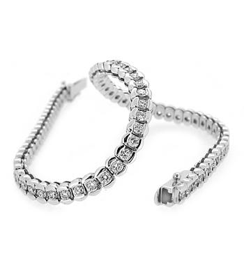 18k White Gold Brilliant Cut Diamond Rubover Set Line Bracelet