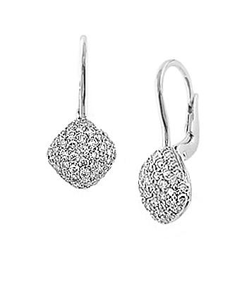 18k White Gold Brilliant Cut Diamond Cluster Hoop Earrings