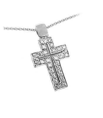 18k White Gold Brilliant Cut Diamond Cross Pendant On Chain