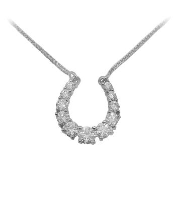 18k White Gold Brilliant Cut Diamond Horseshoe Necklace