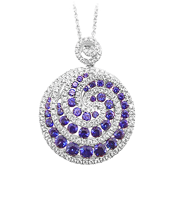 18k White Gold Round Sapphire & Brilliant Cut Diamond Fancy Pendant On Chain
