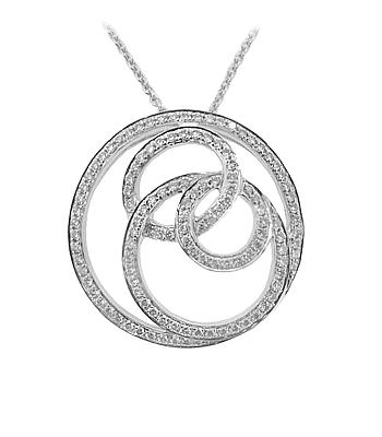 18k White Gold Brilliant Cut Diamond Circle Pendant On Chain