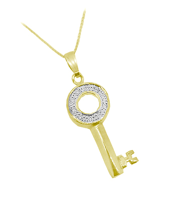 9k Yellow Gold Brilliant Cut Diamond Key Pendant On Chain