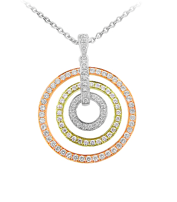 18k Yellow & Red & White Gold Circle Pendant On Chain
