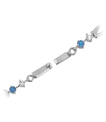 18k White Gold Round Sapphire & Brilliant Cut Diamond Link Bracelet