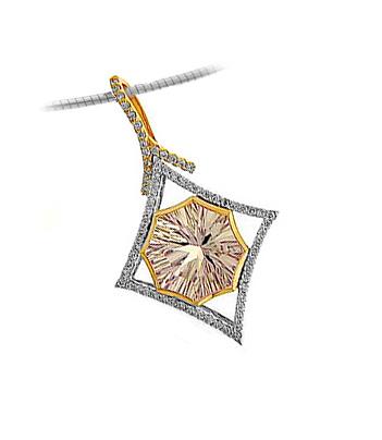 18k Red & White Gold Pink Amethyst & Diamond Pendant On Chain