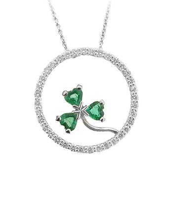 18k White Gold Heartshape Emerald & Brilliant Cut Diamond Shamrock In Circle Pendant On Chain