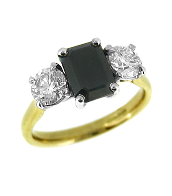 18k Yellow & White Gold 3 Stone Octagonal Dark Sapphire & Brilliant Cut Diamond Ring