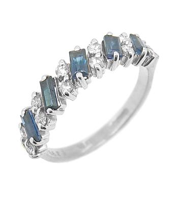 18k Yellow & White Gold Baguette Sapphire & Brilliant Cut Diamond Dress Ring