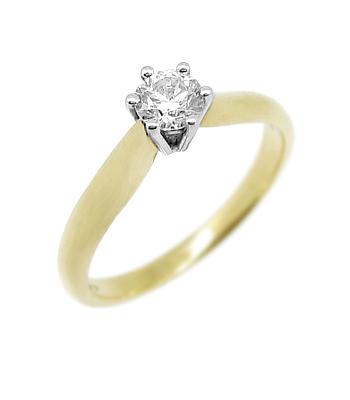 18k Yellow & White Gold Brilliant Cut Diamond Solitaire Ring