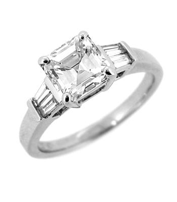 18k White Gold Emerald Cut Diamond Ring, Baguette Diamond Shoulders