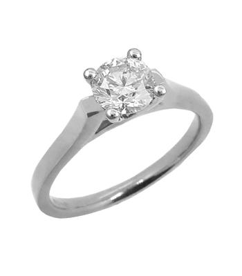 18k White Gold Brilliant Cut Diamond Solitaire Ring