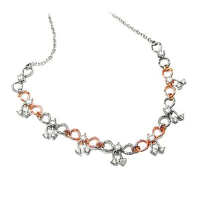18k Red & White Gold Brilliant Cut Diamond Necklace