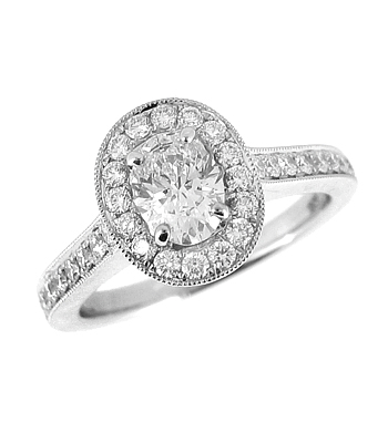 18k Yellow & White Gold Oval Diamond Cluster Ring, Diamond Shoulders