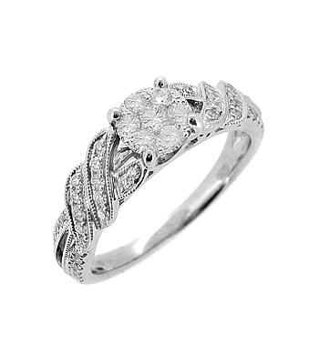18k White Gold Brilliant Cut Diamond Pastel Set Ring