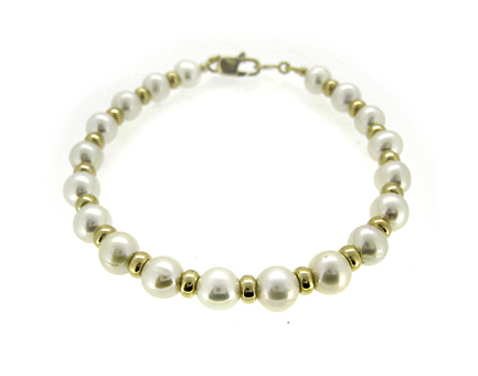 9k Yellow Gold Bead & 8.5-9mm Pearl Bracelet With 9k Yellow Gold Catch