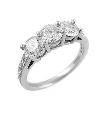 Platinum 3 Stone Brilliant Cut Diamond Ring, Diamond Shoulders