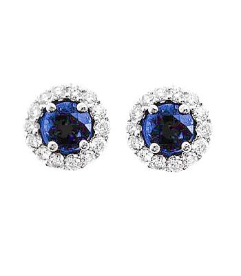 18k White Gold Round Sapphire & Brilliant Cut Diamond Cluster Stud Earrings