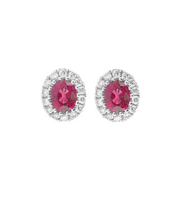 18k White Gold Oval Ruby & Brilliant Cut Diamond Cluster Stud Earrings